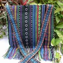 Vintage Hmong Tribal Ethnic Thai Indian Boho shoulder bag message bag linen handmade embroidery Tapestry SYS