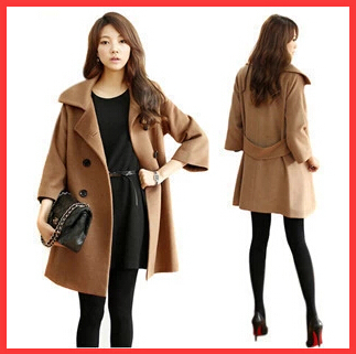 Long sleeve Turn-down Collar Double Breasted abrigos mujer wool coat Fashion Solid Thick women's coats 2014 - beautifulforever store
