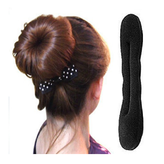 22CM Big Solid Black Nylon Sponge Taenia Headbands Hair Donut Hairdisk Device Quick Messy Bun Hairstyle Hats Y2R3