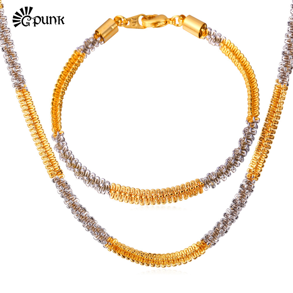 Two-Tone Gold Jewelry Sets Men Snail Necklace Bracelet Jewelry Set 18K Gold& Platinum Plated Men Jewelry Wholesale S1552G(China (Mainland))