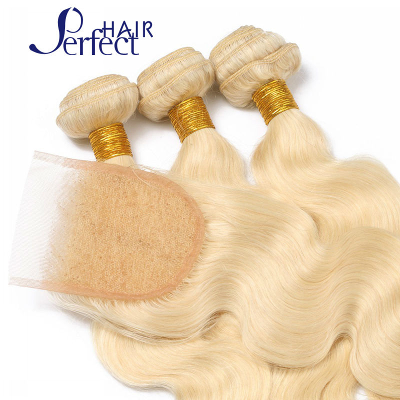 613 Blonde Virgin Hair With Closure Human Hair Boday Wave Platinum 4pcs Blonde Virgin Hair Bundles With Lace Closure on sale