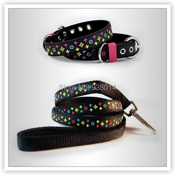 Pet Collar leash Fashion Colorful Star Pattern PVC Nylon Leather Dog Leash Set Drop Shipping - ok Store store