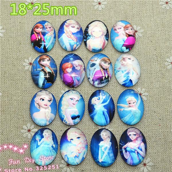 16pcs/lot 18*25mm oval Glass Cabochon Cartoon princess Glass Dome jewelry finding DIY accessories GL003(China (Mainland))