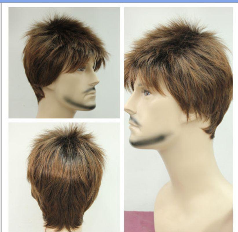 xiuli 0003393 new light brown short straight Cosplay Full men Wig <br><br>Aliexpress