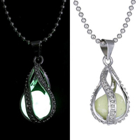 Fashion fluorite rhinestone womens mermaid tear holy glow in the dark necklace Fashion noctilucent necklace