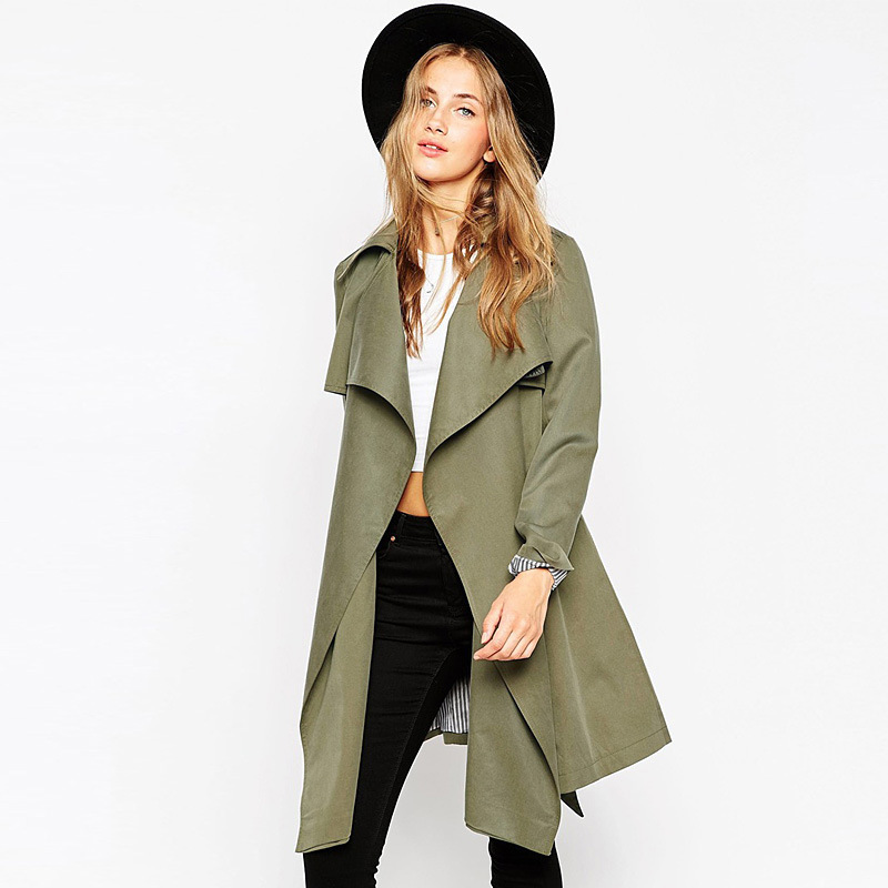 Femme Open Stitch Cardigan Thin Trench Coat Women Overcoat Solid Long ...