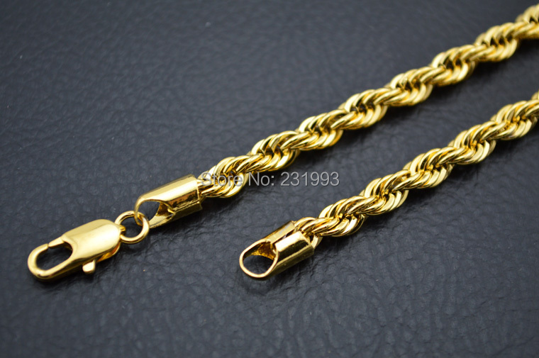 Common jewelry chain unisex style customized size 5mm 18k gold plated rope chain necklace(China (Mainland))