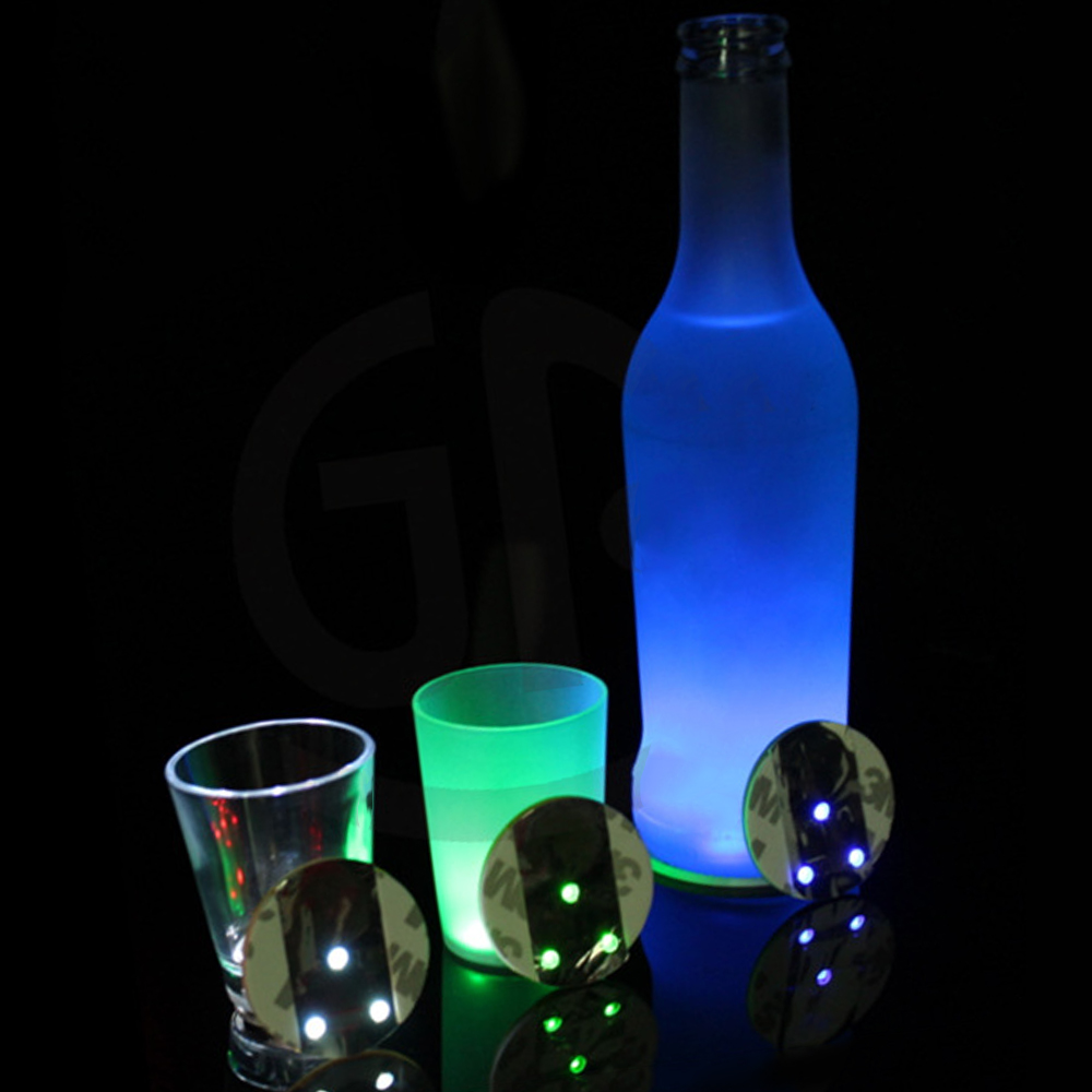 Wholesale Price 1Pcs 3 LEDs Flashing Light Bulb 3V Bottle Cup Mat Coaster Club Bar Christmas New Year Holiday Party Gift HOT