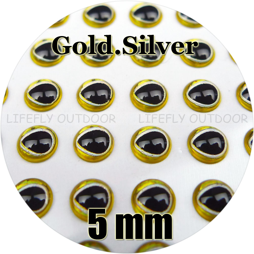 5mm Gold.Silver Color, Tear Drop Pupil / Wholesale 800 Soft Molded 3D Holographic Fish Eyes, Fly Tying, Jig, Lure Making(China (Mainland))