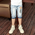 2016 hot summer design light blue star printed kids short pants boys elegant jeans denim shorts