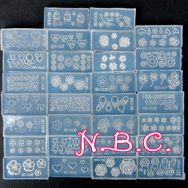 NBC 30pcs Different Style Cute Design 3D nail stickers Acrylic Mold for DIY Nail Art Decoration(China (Mainland))