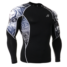 Sublimation Double Sides 3D Printing Mens Long Sleeves Exercises Compression T-shirts Quick Dry Breathable Gym Fitness Sports