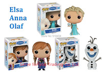 Free Shipping POP FUNKO POP Princess Elsa Anna 10cm Boneca Olaf PVC Action Figure Collection Toy With Box for Children