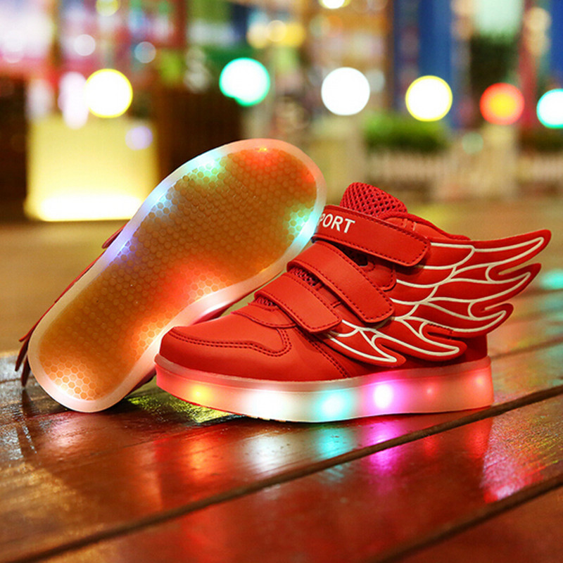 2016 spring new fashion Kids Children shoes USB charging led light lit Boys Girls sport wings sneakers - Hangzhou West Beauty Co.,Ltd. store