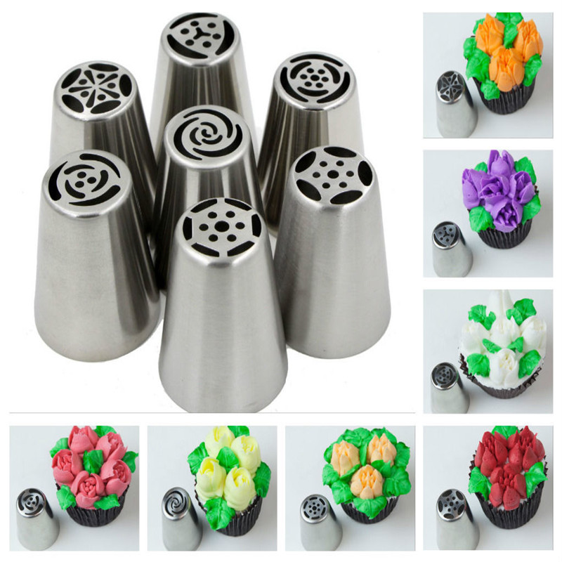 Boquillas rusas Russian Piping Tips 7PCS/SET Stainless Steel Large Size Icing Syringe Set DIY Coupler Nozzle Bakeware Cake Tools(China (Mainland))
