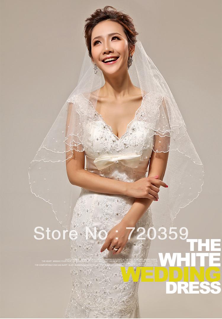 Free shipping!Great Price 1.5m Imitation pearl around Wedding Veil ,Wedding Accessory(China (Mainland))