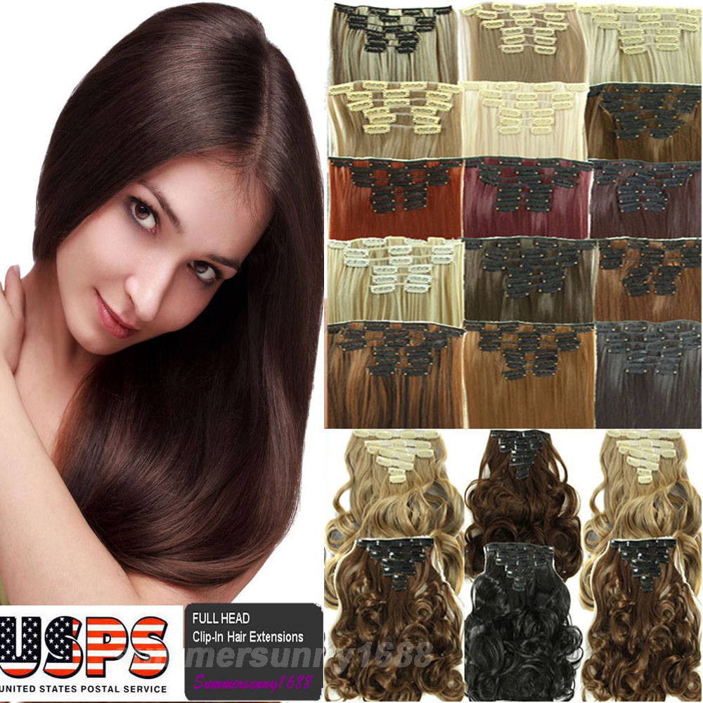 6+2pcs/set Clip In Hair Extensions