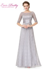 Women's Half Sleeve Long Mother of the Bride Dresses Ever Pretty EP08878 Grey Lace Floor-Length Mother of the Bride Dresses(China (Mainland))
