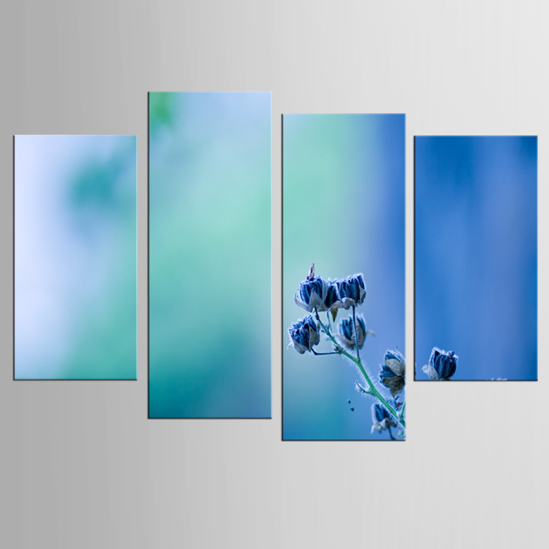 4Pcs/Set Pretty blue flower large canvas print wall art modular painting on decoration oil paint decorative picture framed(China (Mainland))