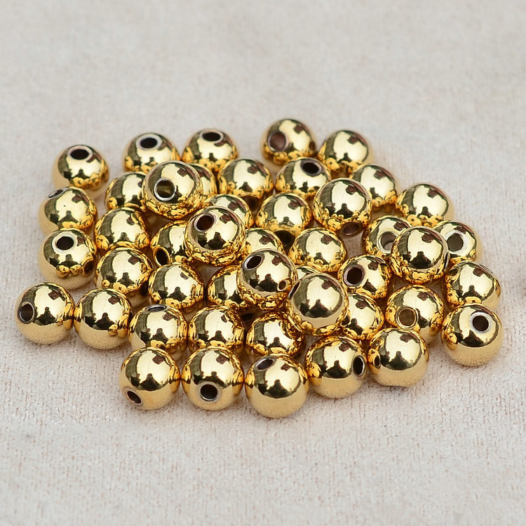Wholesale DIY beads 14K real rose Gold plated beads for necklace pendant bracelet copper Smooth solid Ball Spacer Beads(China (Mainland))