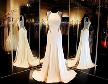2015 Long Formal Dresses Party Crystal Backless Elegant Women Evening Gowns Chiffon Mermaid Evening Dress Vestido De Festa Longo(China (Mainland))