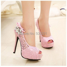 2015 new women shoes pumps sexy lace rhinestone mesh hollow open toe high heels ladies fashion brand nude wedding platform shoes(China (Mainland))