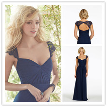 Hot&Sale Sweetheart Long Dark Navy Lace Cap Sleeve Bridesmaid Dresses 2014 Sexy Backless Floor Length Party Gown Vestidos Party(China (Mainland))