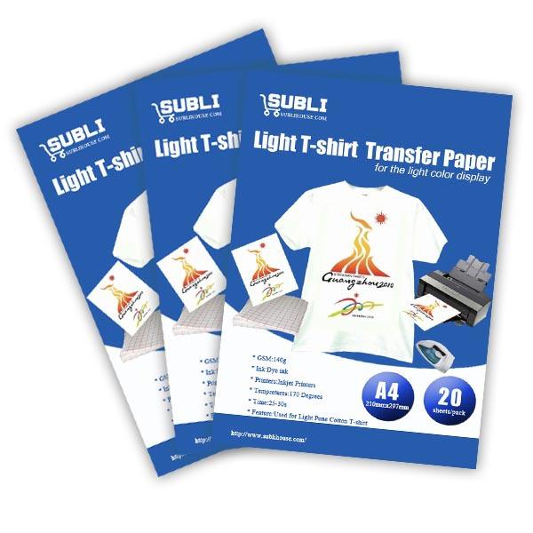 A4 inkjet transfer paper for iron on transfer for light for Best quality t shirt transfer paper