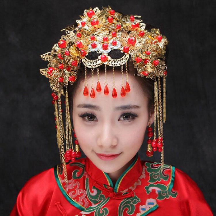 Factory Price Chinese Traditional Wedding Bride Costume Hairwear ,Long Tassel Red Pearl Hair Jewelry(China (Mainland))