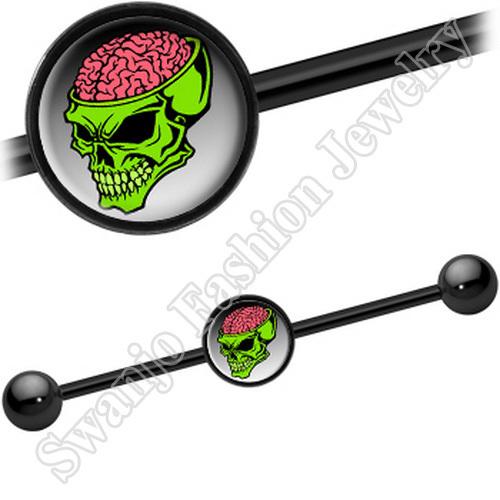 Brainiest Halloween Skull Industrial Bars piercing cheap body jewelry 50pcs/lot free shipping <br><br>Aliexpress