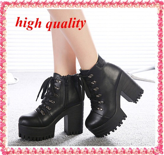 black platform shoes woman winter autumn punk booties chunky high heels ladies motorcycle pumps women ankle boots for women Y38(China (Mainland))