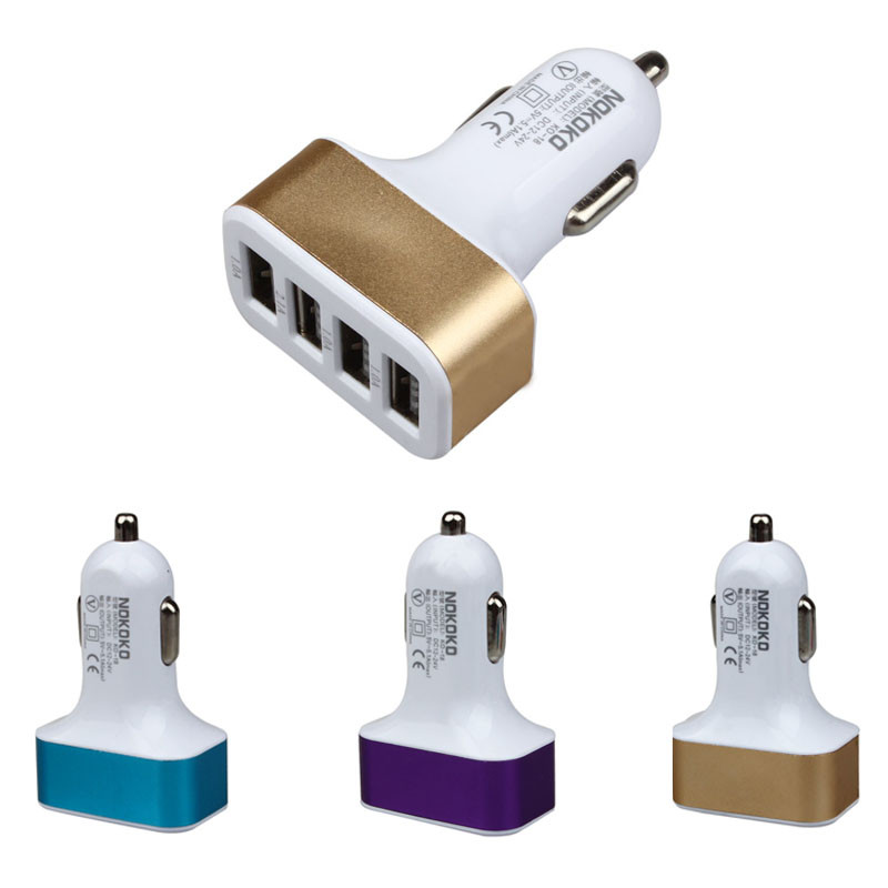 Scolour Car Universal 12V 4Port USB DC Charger Adapter For Smartphone GPS Top Quality USB Powered DevicesUniversal 12V 24V To 5V(China (Mainland))