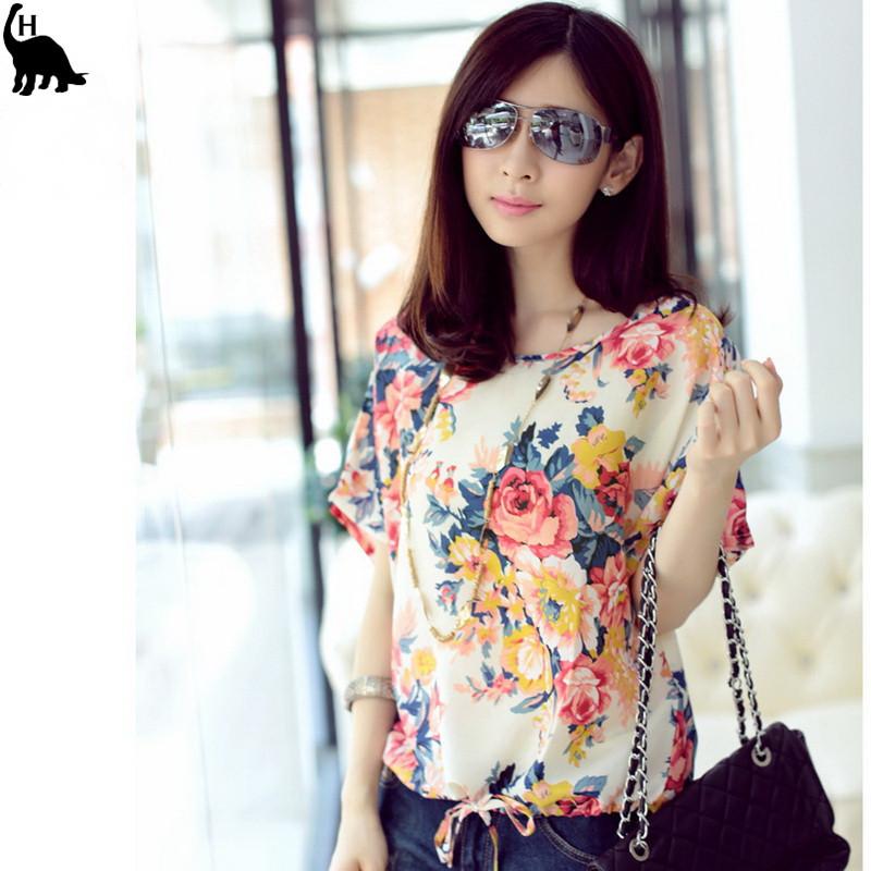 Hot Sale Sexy Women Colorful Birds Chiffon shirt Batwing Loose Blouse Casual Tops XFS3 2015 NEW CHIC!(China (Mainland))