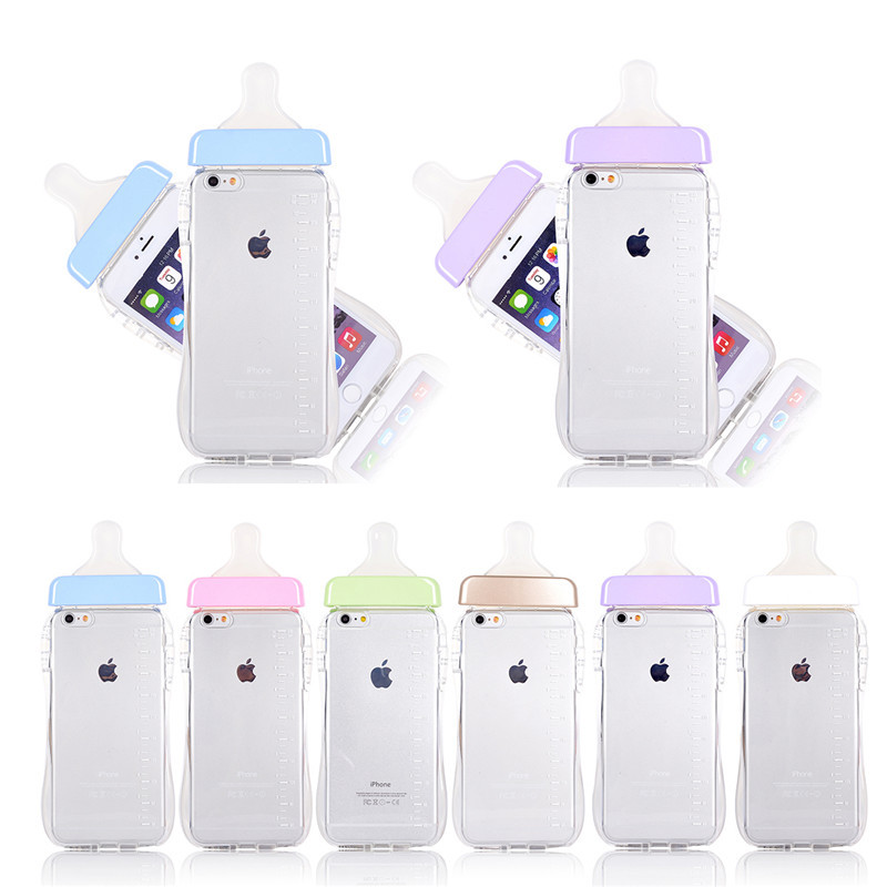 Baby Bottle Mobil Phone Case for Apple iPhone 6S Plus Cases 5.5inch TPU Soft Milk Bottle Clear Cover Lanyard for iPhone6 plus(China (Mainland))