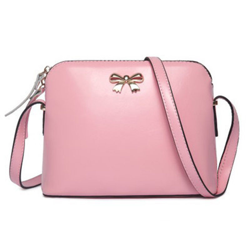 New Arrive High Quality PU Leather Women Bag Fashion Bow Shell Bag Candy Color Women Shoulder Bag(China (Mainland))