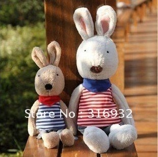 J1 Free shipping , promotional plush toy, Japan Le sucre plush rabbit  in strips clothes  45cm