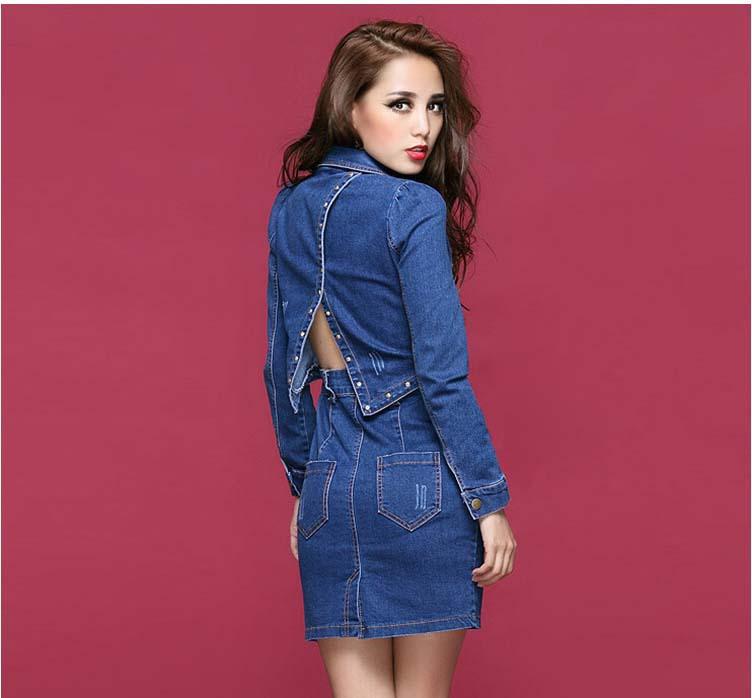 Spring Autumn Long Sleeve Rivet Women Denim Mini Dresses Turn Down Collar Split Halter Lady Jeans Clothes Blue M L G1044(China (Mainland))