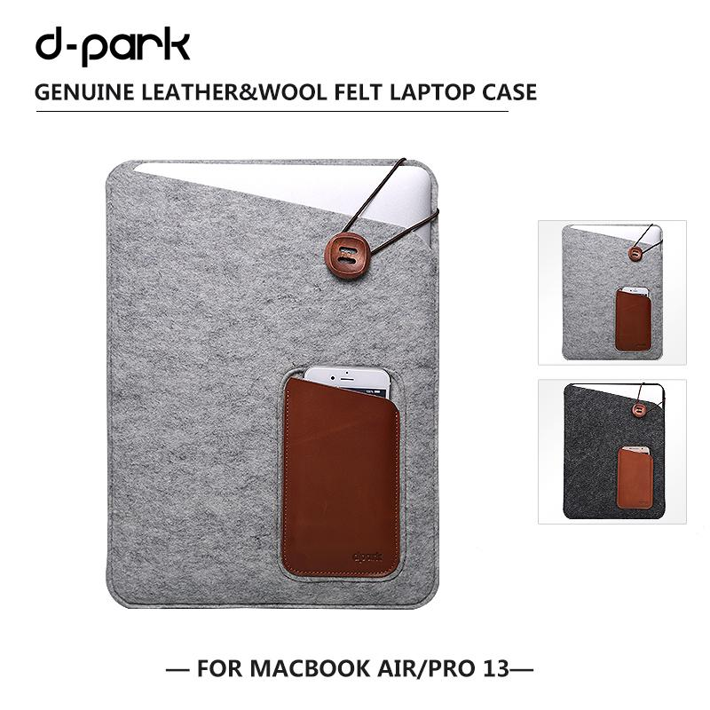 """D-park Vintage Soft Wool Felt Laptop Sleeve Bag for Macbook Air Pro 13"""" Case for 13 inch HP Stream 13 Universal Notebook bag(China (Mainland))"""