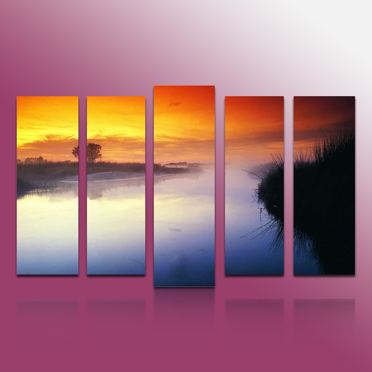 5 panels modern art painting Landscape river plate canvas oil painting(China (Mainland))