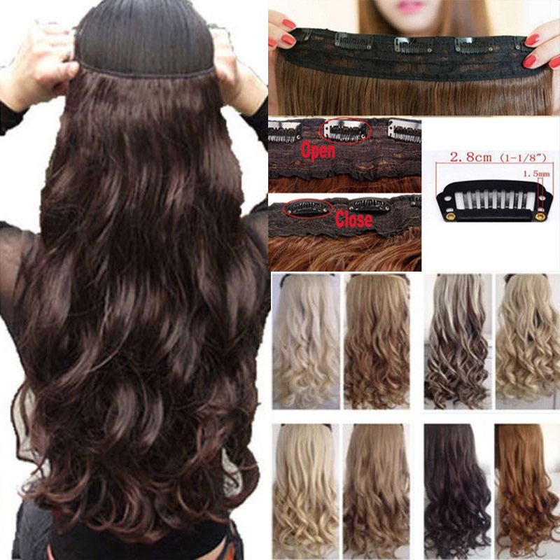 """Long Clip in Hair Extension half full head 100% real natural hair Extentions 17"""" Curly UPS USA Local Warehhouse Fast Free Ship(China (Mainland))"""