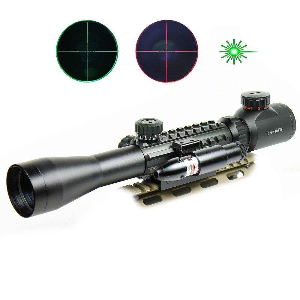 Tactical 3-9X40 Dual illuminated Mil Dot Rifle Scope with Green Laser Sight Combo Airsoft Weapon Sight Hunting