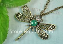 Free ship!hot,wholesale,jewellery,10pcs,new Dragonfly Bronze Necklace Pendant Green Stone Crystal Eye Chain Brass insect K113(China (Mainland))