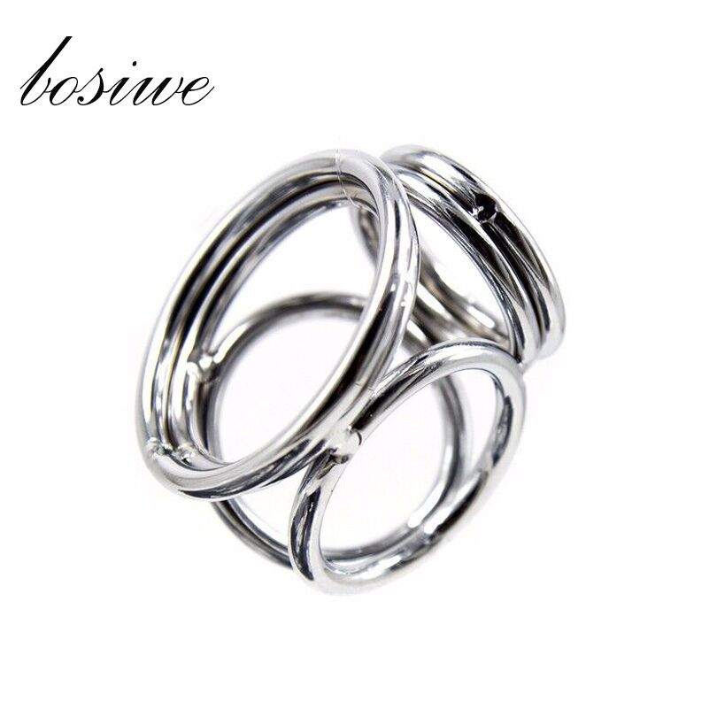 Penis cock dick 3 rings ring sleeve belt male chastity device sex toys products for men adult game metal stainless steel 2 style(China (Mainland))