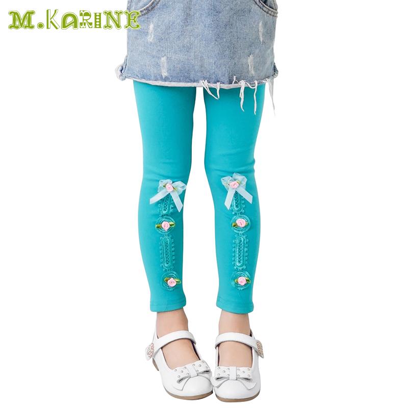 Hot Selling 2016 Spring Flower Girls Leggings Toddler Kids Pants Fashion Bow Stripes Pantalon Children Clothing Elastic Legging(China (Mainland))