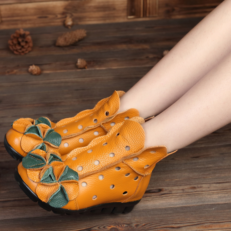 2016 spring and summer genuine leather female boots flatbottomed cutout boots national trend flower women's personalized shoes