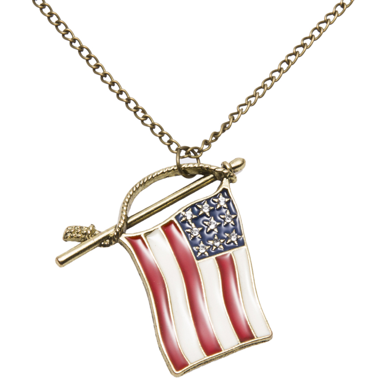 Fashion Unique Women's Or Men's Antique Gold Plated Necklace kolye National Flag Design Bid Pandent Long Chain Sweater Jewelry(China (Mainland))