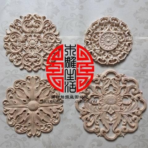 Wood carving dongyang wood corner flower applique carved smd shavings gate fashion furniture decoration