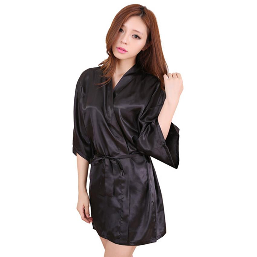 black 2016 short style womens silk satin robe gown kimono