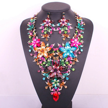 New design big flower bridal jewelry set crystal gold plated prom party wedding statement necklace earring set accessories women(China (Mainland))