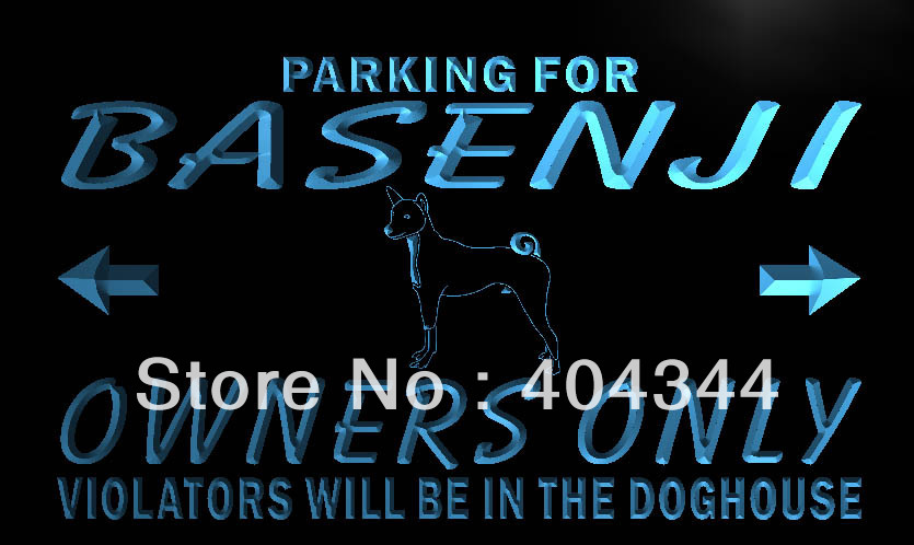 LZ121- Basenji Owner Parking Only LED Neon Light Sign home decor crafts(China (Mainland))